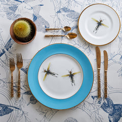 Blue Dragonflies Dinner Plate, Melody Rose Alternate View