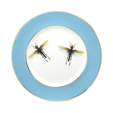 Blue Dragonflies Dinner Plate, Melody Rose