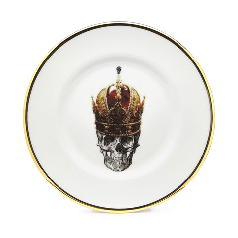 The Skull in Crown Bone China Plate, Melody Rose - CultureLabel