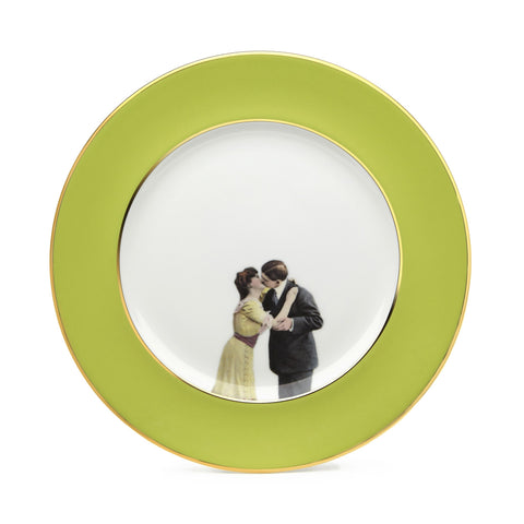 Green Kissing Couple Dinner Plate, Melody Rose