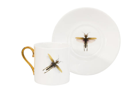 Dragonfly Espresso Cup and Saucer Set of Two, Melody Rose