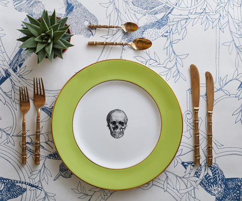 Green Skull Dinner Plate, Melody Rose