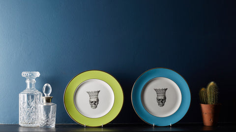Blue Skull in Crown Dinner Plate, Melody Rose Alternate View