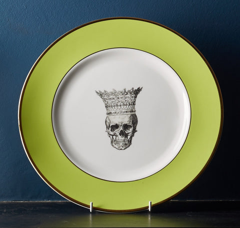 Green Skull in Crown Dinner Plate, Melody Rose