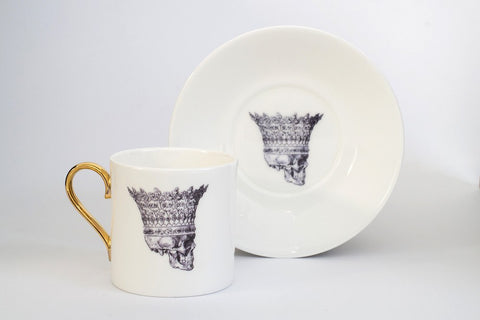 Skull in Crown Espresso Cup & Saucer Set of Two, Melody Rose Alternate View