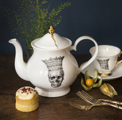 Skull in Crown Teapot, Melody Rose