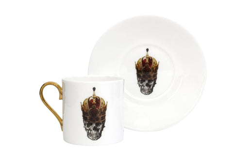Skull in Red Crown Espresso Cup & Saucer Set of Two, Melody Rose Alternate View