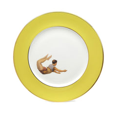 Yellow Trapeze Boy and Girl Dinner Plates Set of Two, Melody Rose Alternate View
