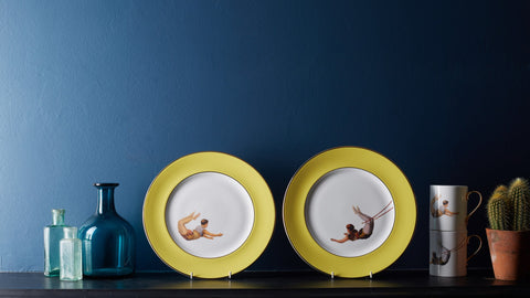Yellow Trapeze Boy and Girl Dinner Plates Set of Two, Melody Rose