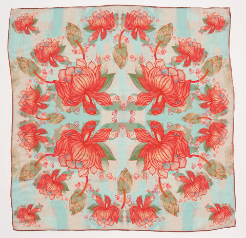 Red Lotus Flower Square Silk Crêpe de Chine Scarf, National Museum of Scotland - CultureLabel - 1