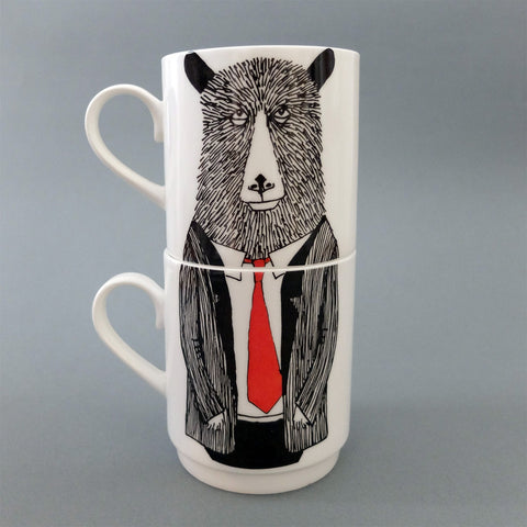 Mr Bear Stackable Tea Mugs, Jimbobart - CultureLabel
