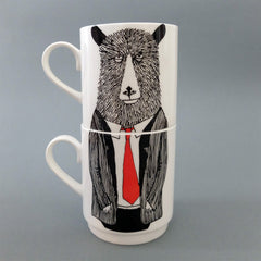 Mr Bear Stackable Tea Mugs, Jimbobart