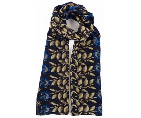 Erskine George Jamesone Dark Blue Silk Scarf - CultureLabel