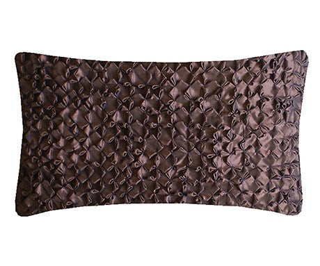 Chocolate Hand Smocked Flower Cushion, Nitin Goyal - CultureLabel - 1