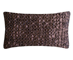Chocolate Hand Smocked Flower Cushion, Nitin Goyal