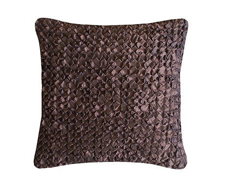 Chocolate Hand Smocked Flower Cushion Square, Nitin Goyal - CultureLabel - 1