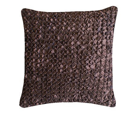 Chocolate Hand Smocked Flower Cushion Large Square, Nitin Goyal - CultureLabel - 1
