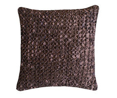 Chocolate Hand Smocked Flower Cushion Large Square, Nitin Goyal