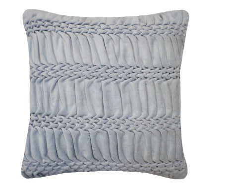 Hand Smocked Striped Wave Cushion - Duck Egg, Nitin Goyal - CultureLabel - 1