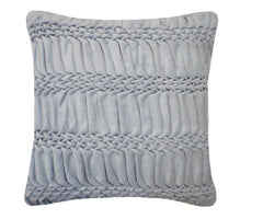 Hand Smocked Striped Wave Cushion - Duck Egg, Nitin Goyal
