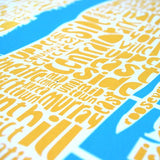 Map of NYC - yellow/sky blue, Ursula Hitz - CultureLabel - 3 (close up)