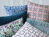 Hand Stiched Striped Flower Cushion Teal, Nitin Goyal - CultureLabel - 2