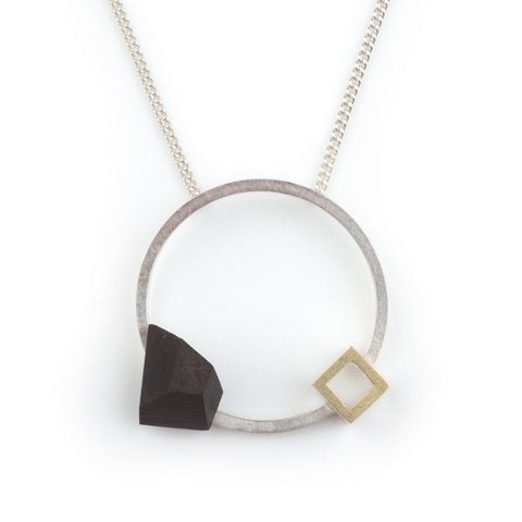 Circular Pendant with 18ct Cube, Stephanie Ray - CultureLabel - 1