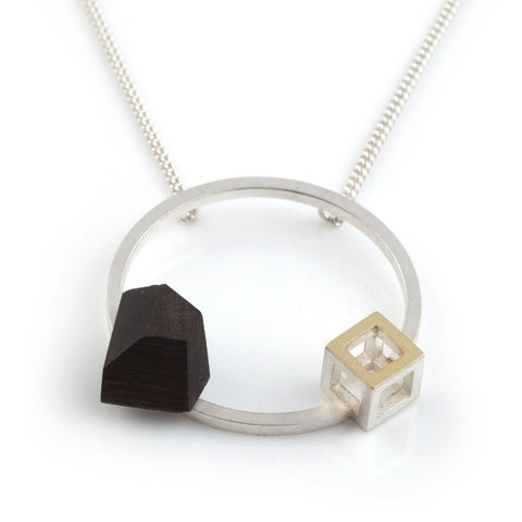 Circular Pendant with 18ct Cube, Stephanie Ray Alternate View