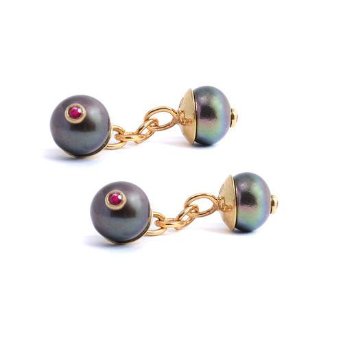 Peacock Pearl & Ruby Cufflinks, Lee Renée - CultureLabel - 1