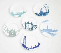 A Set of 6 River Series Dinner Plates, Snowden Flood