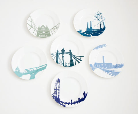 Set Of Six River Series Side Plates, Snowden Flood - CultureLabel - 1