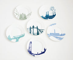 Set Of Six River Series Side Plates, Snowden Flood