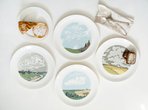 Set of Four Cloud Dinner Plates, Snowden Flood - CultureLabel