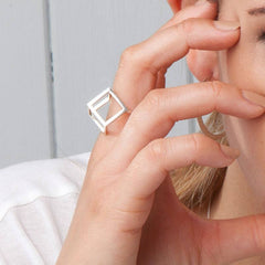 Silver Cube Ring, Stephanie Ray Alternate View