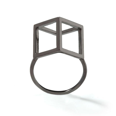 Black Rhodium Cube Ring, Stephanie Ray