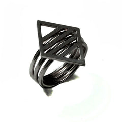 Black Rhodium Rhombus Ring, Stephanie Ray