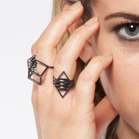 Black Rhodium Cube Ring, Stephanie Ray Alternate View