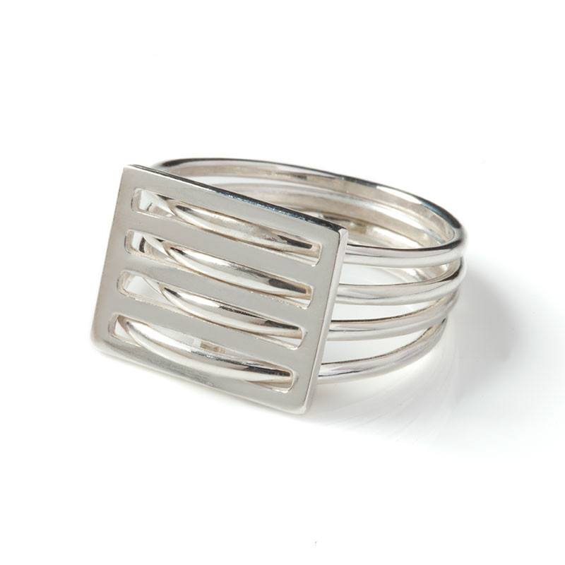 Silver Grid Ring, Stephanie Ray - CultureLabel - 1 (Ring On White Backdrop)