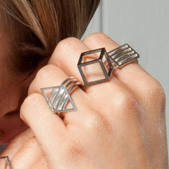 Silver Grid Ring, Stephanie Ray Alternate View