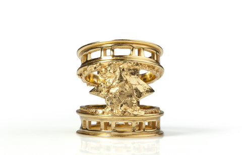 Gold Brick Moon Ring, Ros Millar