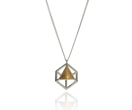Pyramid Cube Pendant in Silver, Stephanie Ray