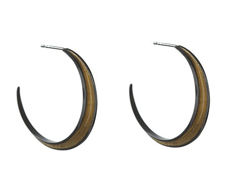 Pyramid Hoops in Black Rhodium, Stephanie Ray - CultureLabel - 1 (pair)