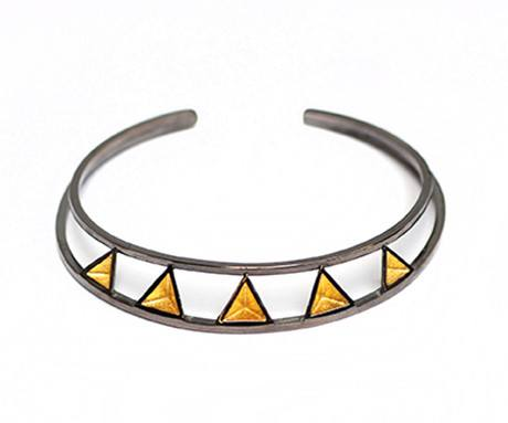 Pyramid Deco Bangle in Black Rhodium, Stephanie Ray