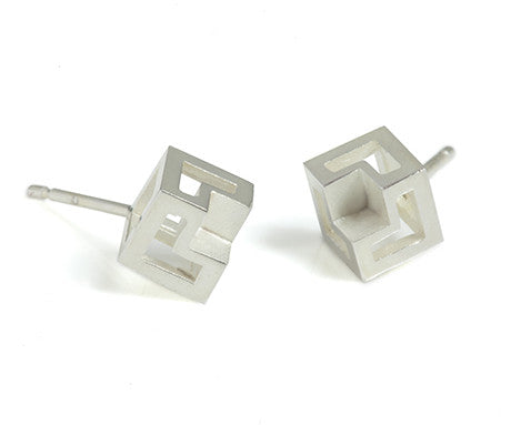 Missing Cube, Cube Studs in Silver, Stephanie Ray - CultureLabel - 1 (pair)