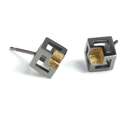 Missing Cube, Cube Studs in Black Rhodium, Stephanie Ray - CultureLabel