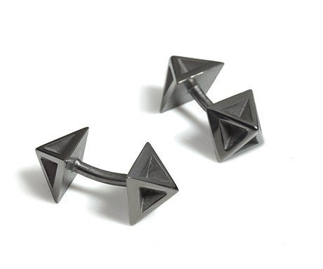 Pyramid Cufflinks in Black Rhodium, Stephanie Ray - CultureLabel