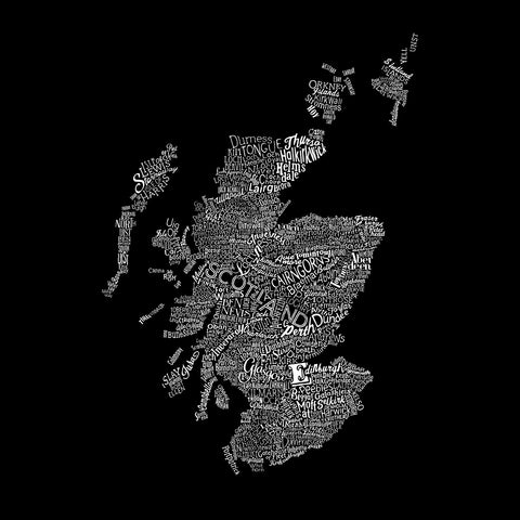 Scotland Type Map, Run For The Hills - CultureLabel - 1 (black; full image)