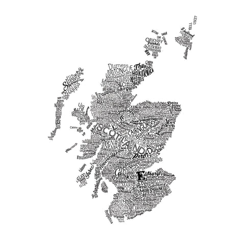 Scotland Type Map, Run For The Hills Alternate View
