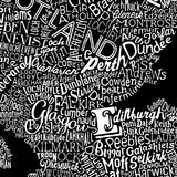 Scotland Type Map, Run For The Hills - CultureLabel - 5 (black; close up- Edinburgh)