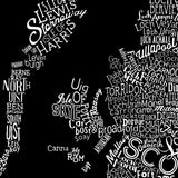 Scotland Type Map, Run For The Hills - CultureLabel - 6 (black; close up)